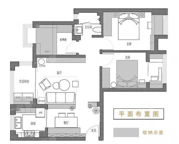装修效果图现代简约80-120平方小三、四房装修经典案例