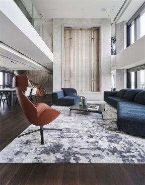 客厅布艺沙发装修效果图 现代复式客厅装修效果图