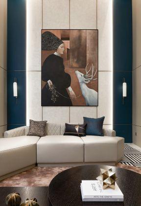 复式客厅装修案例 复式客厅装修图 背景墙画效果图